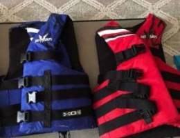 Blue and red life jacket rarely use