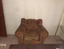 3, sofas, 1 table. and 1. iron stand and. ...